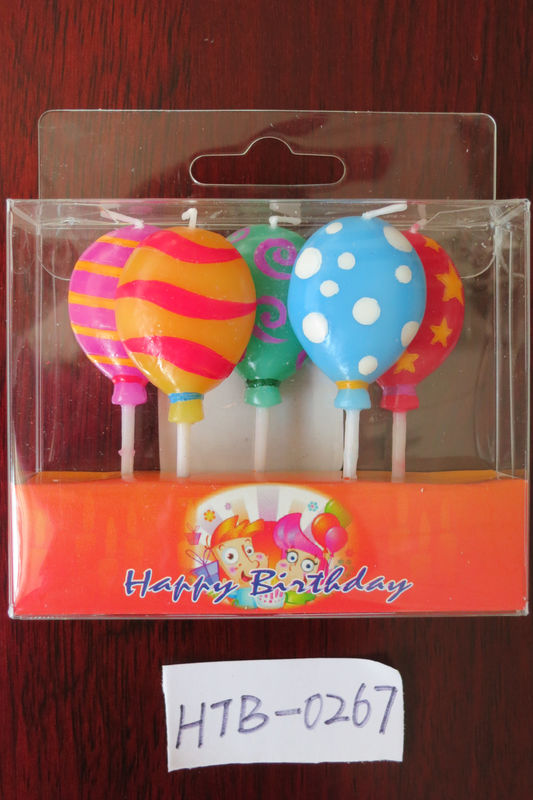 5 Pcs Balloon Shapd 100% Paraffin Candles For Birthday / Wedding / Festival Party