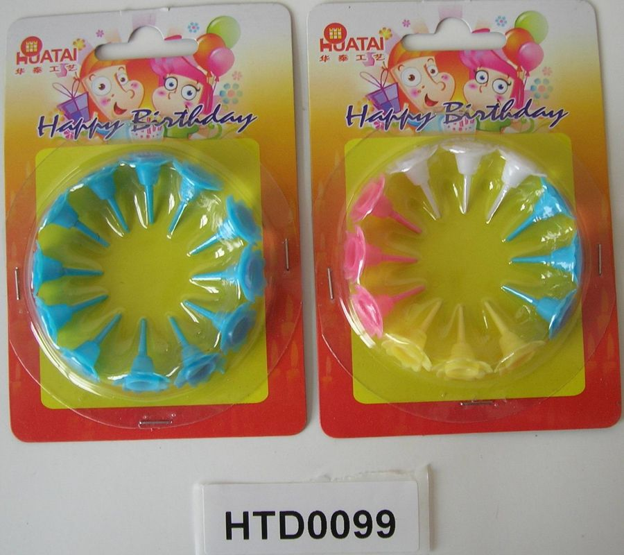 Plastic Birthday Candle Holders Flower Shaped For Cupcake Decorations Food Grade