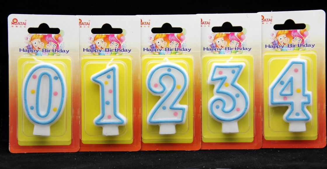 100% Paraffin Number Birthday Candles With Baby Blue Edge / Dots Non Toxic