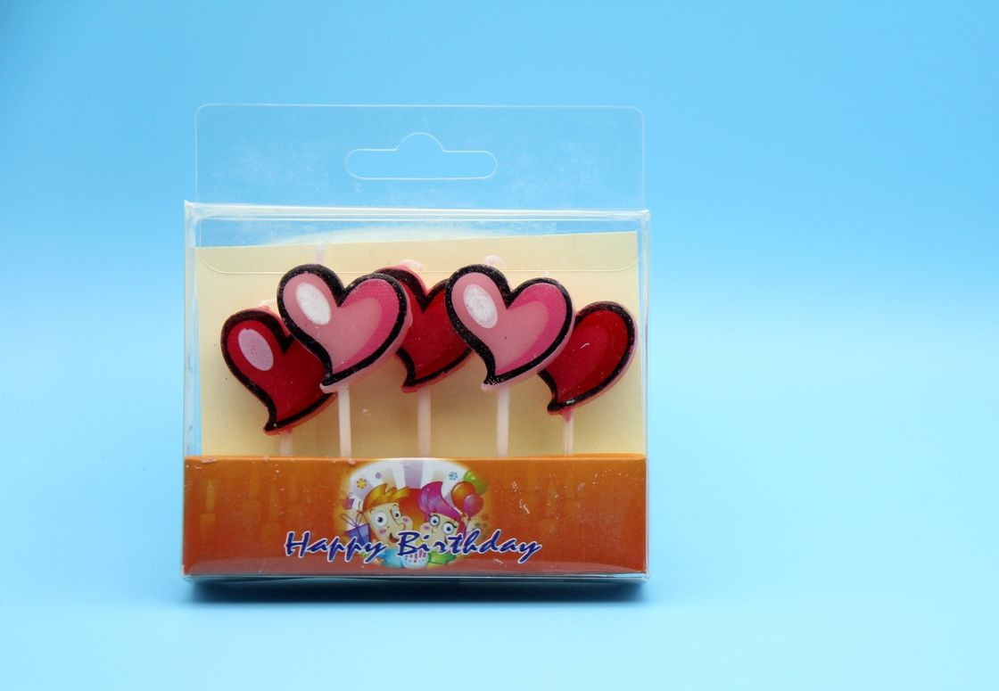 Romantic Lovely Heart Shaped Birthday Candles With Food Grade Paraffin Material
