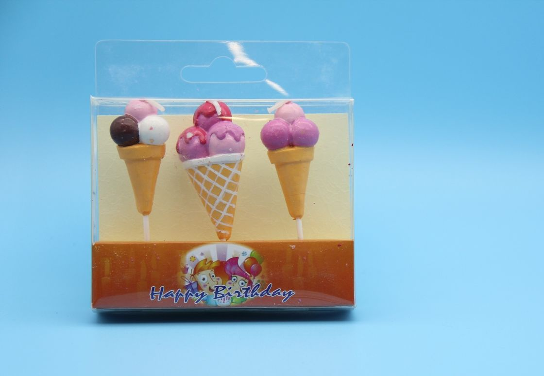 Colored Ice Cream Cone Shaped Birthday Candles For Children Party No Smoking