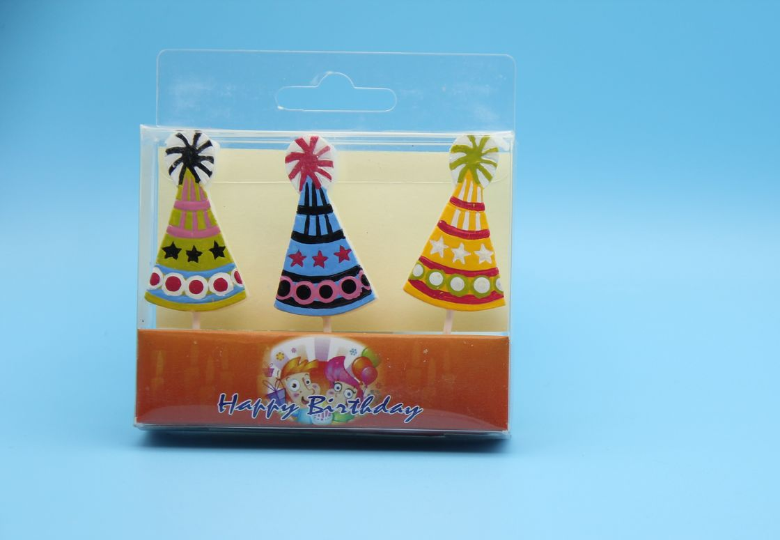 Tearless Cute Hat Shaped Birthday Candles Non Toxic OEM & DEM Service
