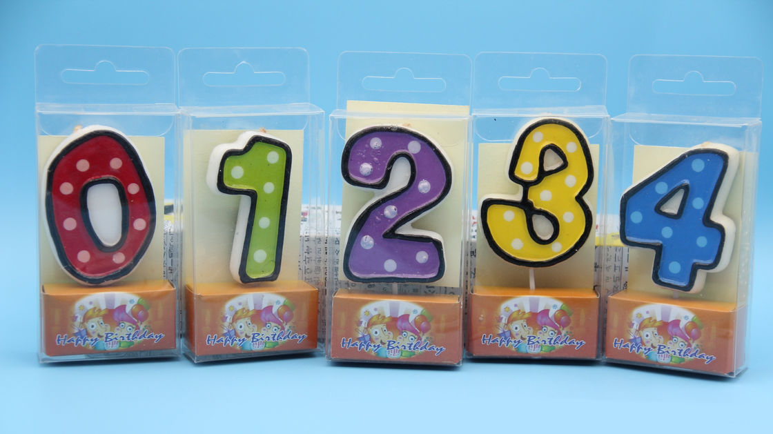 Colorful Children's Birthday Candles Number 0-9 , Custom Cake Candles For Celebrate