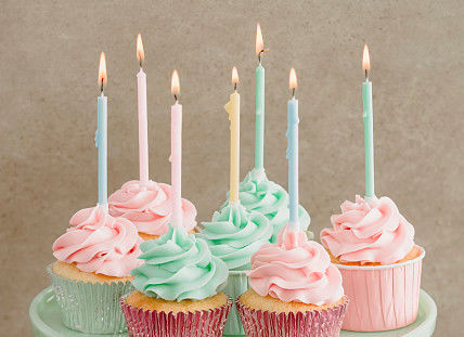 12 Pcs Long Birthday Cupcake Candle , Long Skinny Birthday Candles Eco Friendly