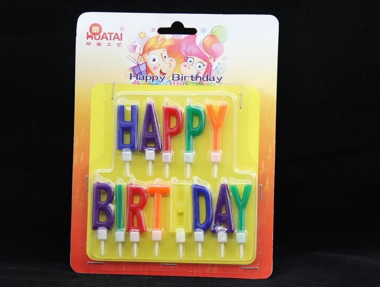 Colorful 13 Pcs Happy Birthday Letter Shaped Candles With White Plastic Holder